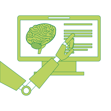 Monitor computer with brain and robot hand  illustration design