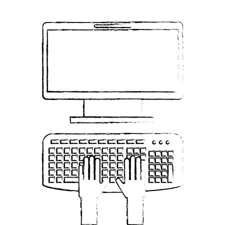user with computer desktop vector illustration design