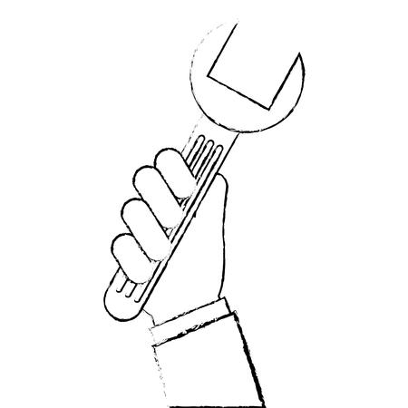 렌치 아이콘이있는 손