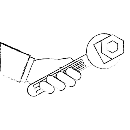Hand with wrench and nut 向量圖像