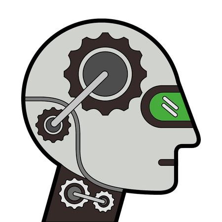 ヒューマノイドロボットプロファイルアイコンベクトルイラストデザイン。