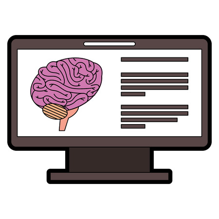 Monitor of computer with brain