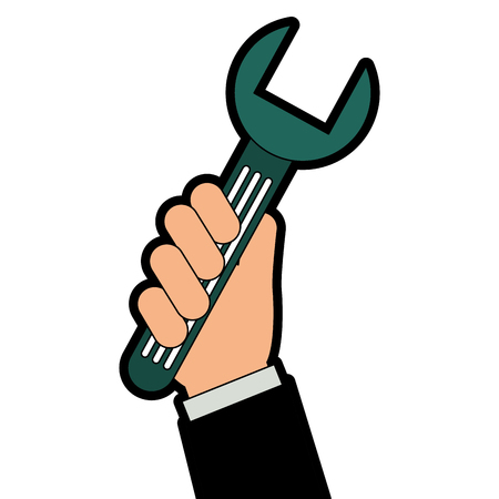 렌치 키 격리 아이콘 벡터 일러스트와 함께 손을 디자인