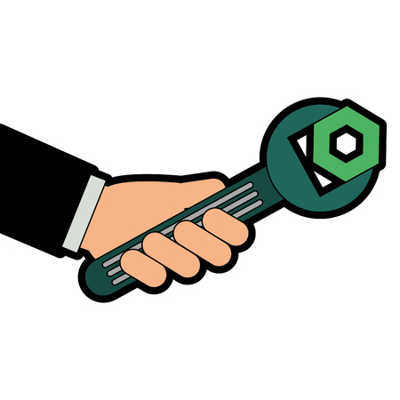 Hand with wrench key and nut vector illustration design Illustration