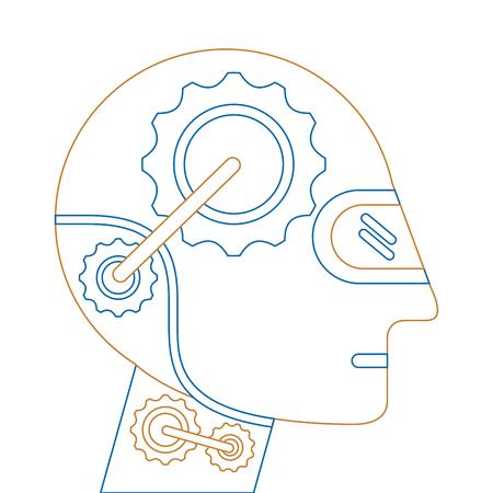 Humanoid robot profile icon vector illustration design
