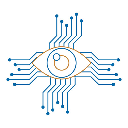 eye with circuit icon vector illustration design