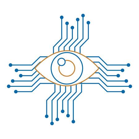 oog met circuit pictogram vector illustratie ontwerp