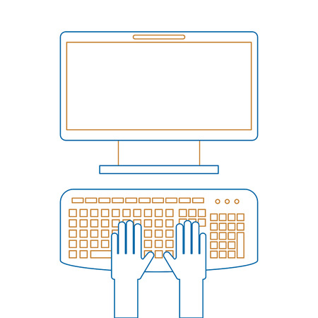 User with computer desktop Illustration