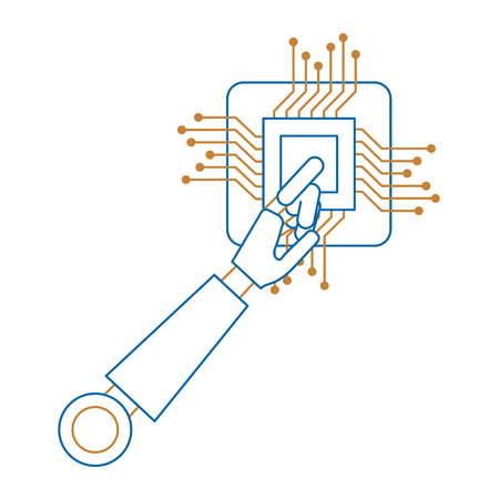 processor circuit with robot hand vector illustration design