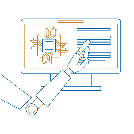 monitor computer with processor and robot hand vector illustration design