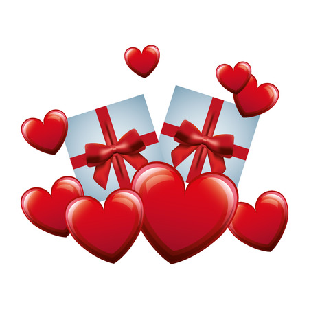 hearts love with gifts vector illustration design