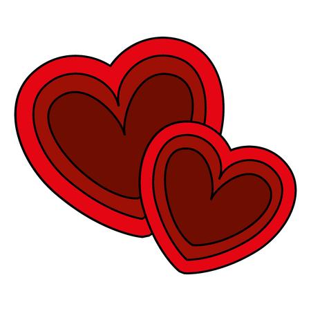two hearts love card vector illustration design
