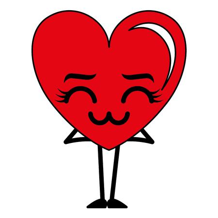 Heart kawaii character