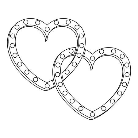 dois corações amor cartão ilustração vetorial design Ilustración de vector