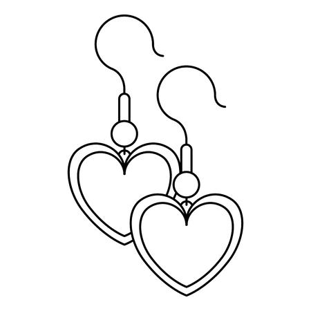 ハート形状ベクトルイラストデザインのイヤリング
