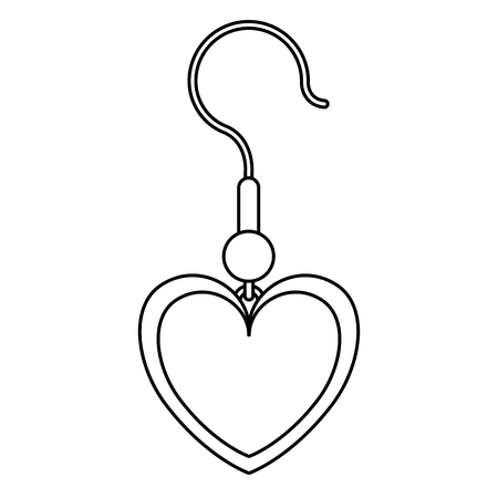 Earrings with heart shape vector illustration design