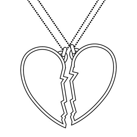 마음 사랑 깨진 된 목걸이 벡터 일러스트 디자인