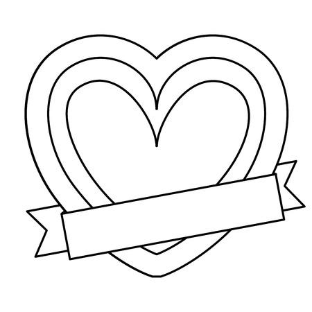 Heart with ribbon Иллюстрация