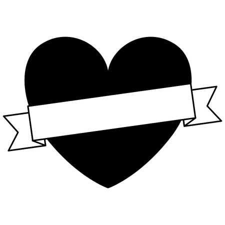 heart love with ribbon decorative vector illustration design