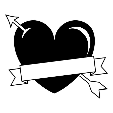 Heart love with arrow and ribbon vector illustration design