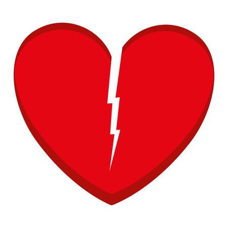마음 사랑 깨진 된 아이콘 벡터 일러스트 레이 션 디자인 일러스트