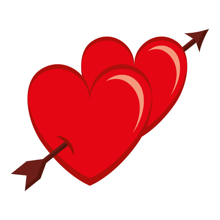 two hearts with arrow love card vector illustration design 일러스트