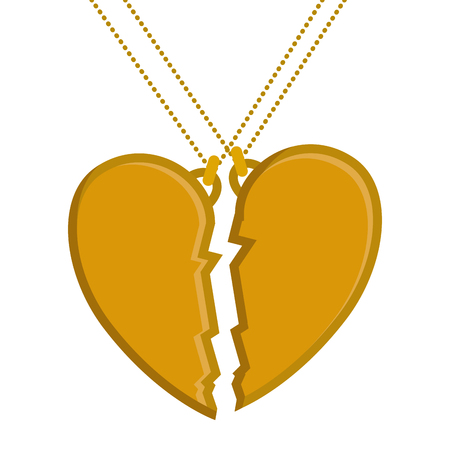 마음 사랑 깨진 된 목걸이 벡터 일러스트 레이 션 디자인