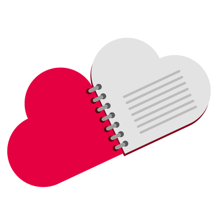 notebook with heart love shape vector illustration design Illustration