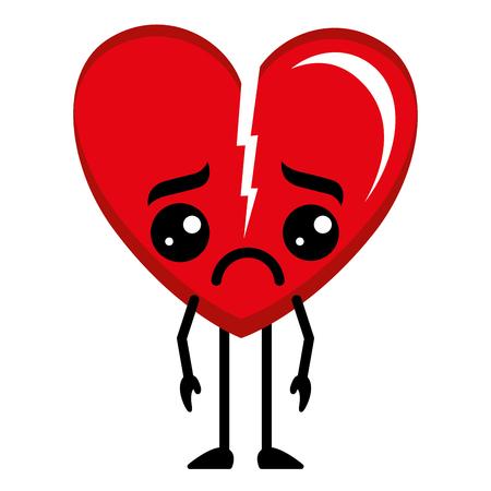 heart love broken kawaii character vector illustration design Illustration