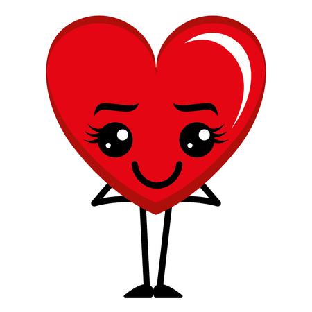 Heart love happy character illustration design.