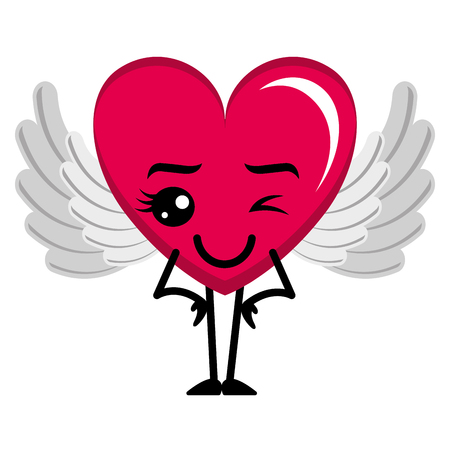 heart love happy with wings kawaii character vector illustration design