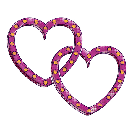 two hearts love card vector illustration design