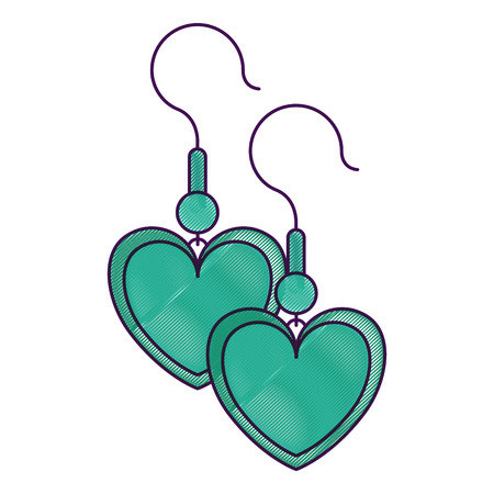 Earrings with heart shape vector illustration design