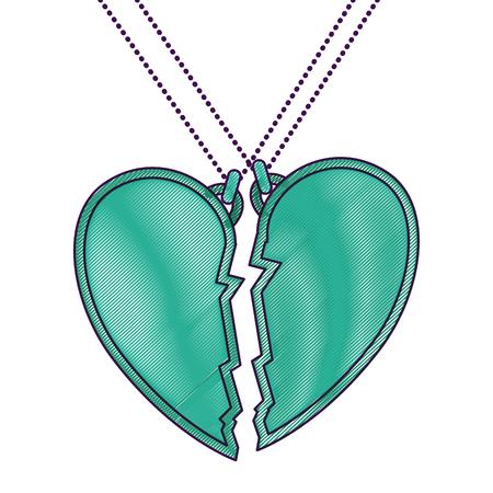 heart love broken necklace vector illustration design