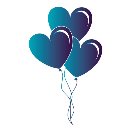 Balloons air with heart shape vector illustration design
