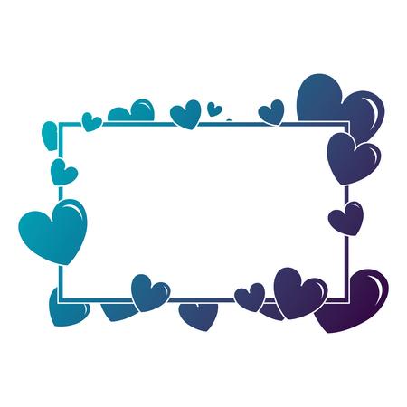 Hearts love with frame pattern background vector illustration design