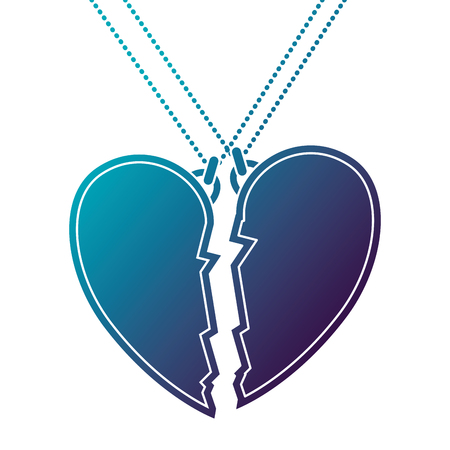 Heart love broken necklace vector illustration design