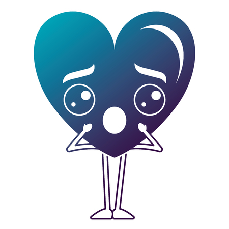 Heart love confused kawaii character vector illustration design