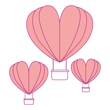 Hot air balloons flying with heart shape vector illustration design Illustration