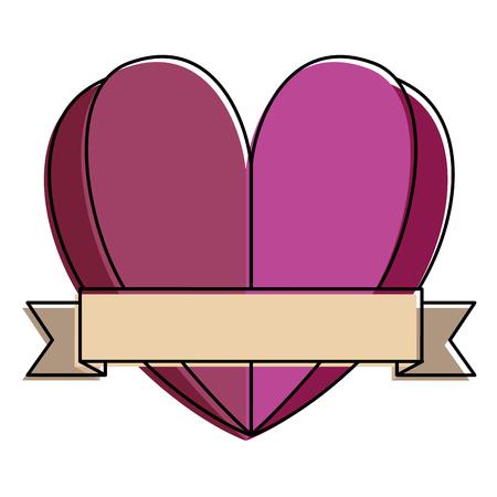 Heart love with ribbon decorative  illustration design.