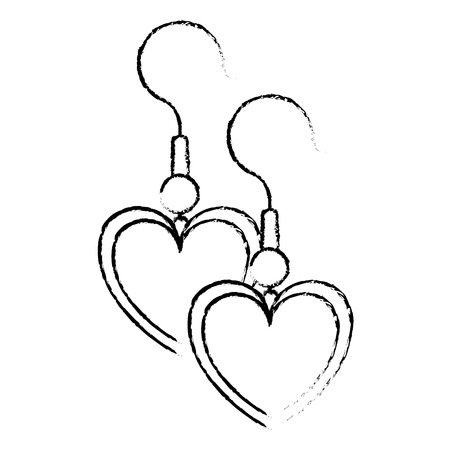 Earrings with heart shape vector illustration design.