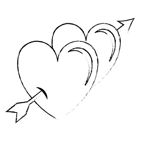 Two hearts with arrow love card vector illustration design  イラスト・ベクター素材