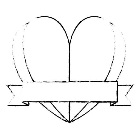 Heart with ribbon decorative vector illustration design