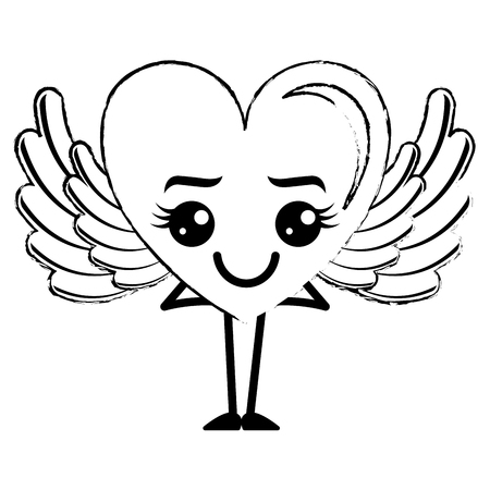 heart love happy with wings character vector illustration design