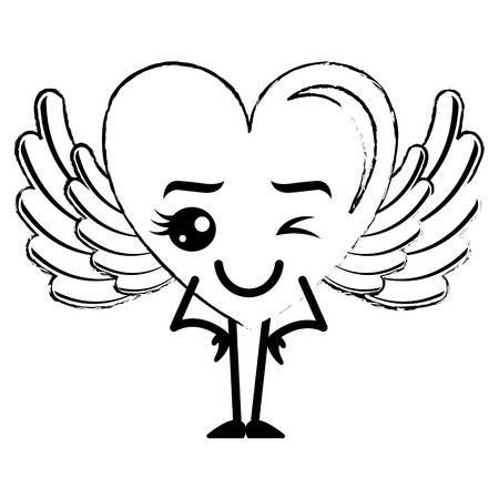 Heart love happy with wings character vector illustration design.