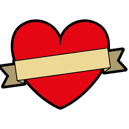 Heart love with ribbon decorative vector illustration design. Иллюстрация