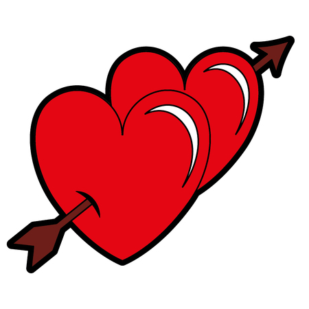 Two hearts with arrow love card vector illustration design. 일러스트