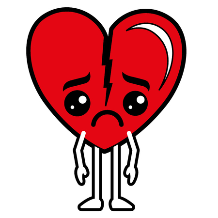 Broken heart kawaii character isolated on white.  vector illustration design Illustration