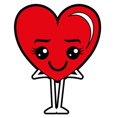 Heart love happy character vector illustration design.