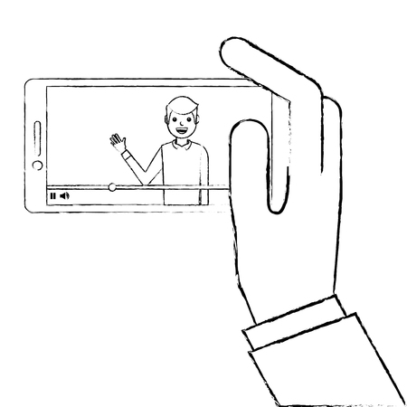 hand holding smartphone with video blogger on screen vector illustration sketch design Illustration